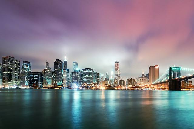 Lower Manhattan at Night from Brooklyn Bridge Park, NYC
