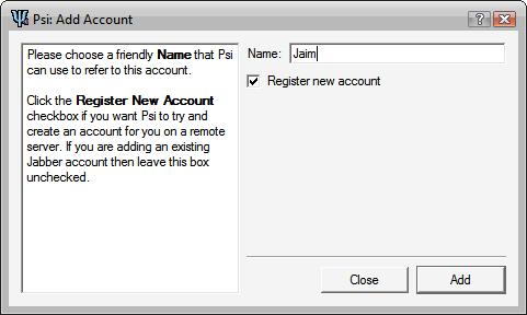 Add account wizard