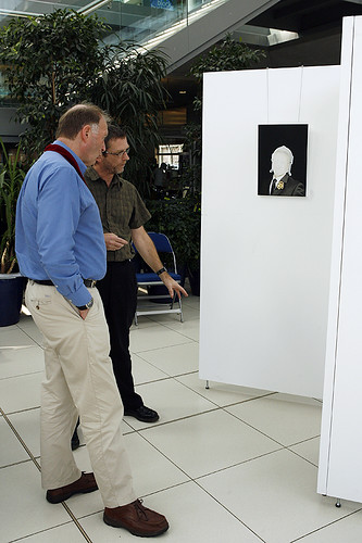 Andrew showing Sheriff of Norwich Professor Tim O'Riordan around our exhibition