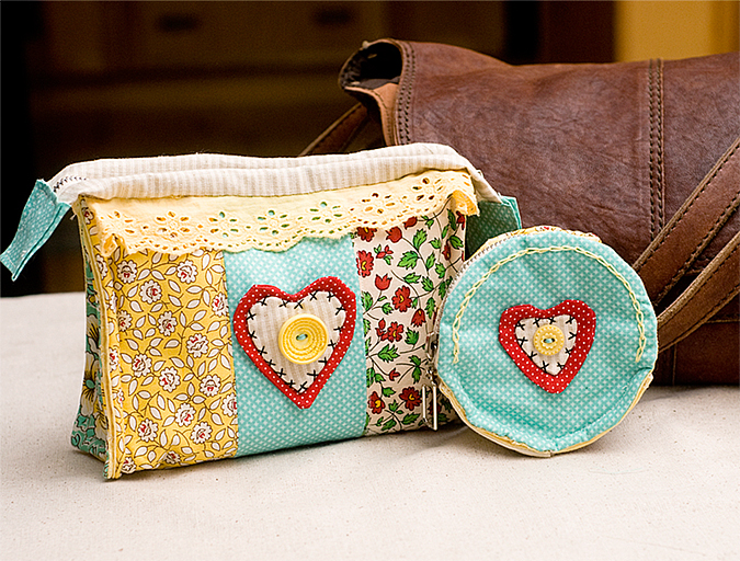 handmade make up bag and coin purse