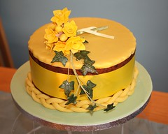 """""""Daffodil"""" Simnel cake (Cakes by No More Tiers (York)) Tags: york flower yellow cake easter spring ivy hobby spray stamens daffodil bunch ribbon marzipan bouquet yellowribbon fruitcake springflowers springtime narcissus goodfriday plait simnelcake gumpaste paques simnel eastercake cakedecorating sugarcraft nomoretiers"""