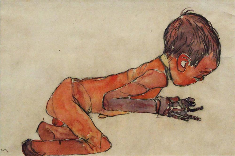 Egon Schiele, Neugeborenes mit angezogenen Beinen [Newborn with Bent Knees], 1910