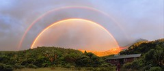 Double rainbow over Holly Hut Photo