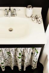 bathroom redone (temporarily) (kimhaseightcats) Tags: white black ikea yellow vintage bathroom mirror design sink cabinet interior fabric faucet cecilia medicine renovation decorate redo