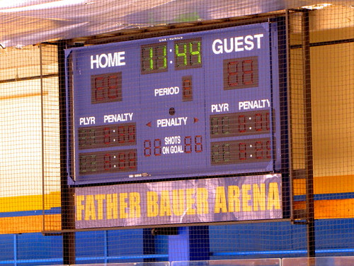 Socreboard at the Father Bauer Arena in Doug Mitchell Thunderbird Sports Centre in UBC