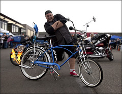 Blue Moon (Jeff Burger) Tags: 1969 portraits fire washington flames georgetown bicycles portraiture pacificnorthwest bicyclist tacoma schwinn renton gettyimages bluemoon mantaray thestranger ratrods seattleweekly vintagebicycles tailpipes pedalpower apehangers harleydavidsons custombicycles jeffburger jbstudio pryotechnics canon5dmark2
