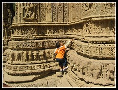 Modhera Sun Temple, Gujarat, India (Divyesh Nagar) Tags: world life old boy people sculpture orange india color colour art heritage love monument architecture composition children temple nikon vishnu god islam memories steps culture symmetry step future effort balance shiva hindu archeology gujarat ahmedabad indianart suntemple stepwell ramkund modhera waterstorage undergroundwater lordvishnu modherasuntemple divyeshnagar ranikivaav