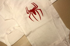 Red spider (.hannita.) Tags: baby spiderman superhero onesie freezerpaperstencil howaboutorange