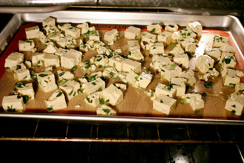 tofu croutons in the oven