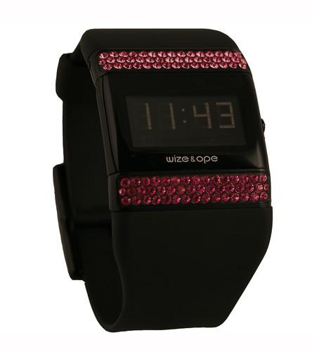 WO-0161 /Black Digital - Black Strap - Pink Strass Slide