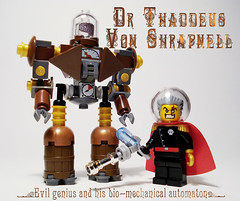 Steampunk villain & bot (captainsmog) Tags: mars smile robot gun rivets lego space victorian bad evil astronaut steam weapon backpack bubble copper heroes minifigs villain gears martian bot blaster phaser automaton steampunk mocs moc