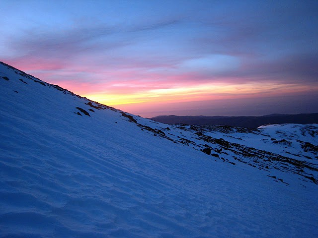 Beautiful sunrise on the descent of Mulhacen