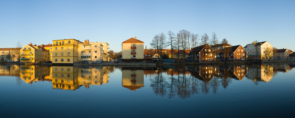 Panorama of buildings by the Eskilstuna river, Eskilstunaån.