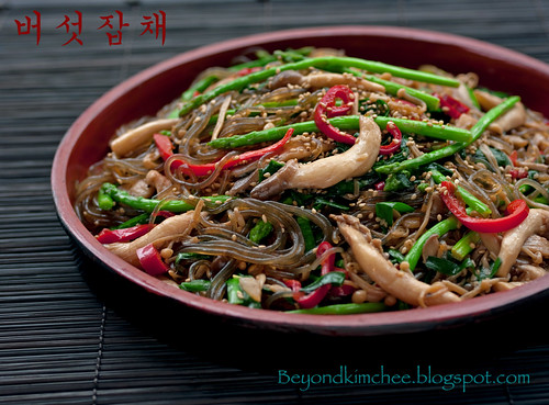 Mushroom Asparagus Japchae, the upgraded version
