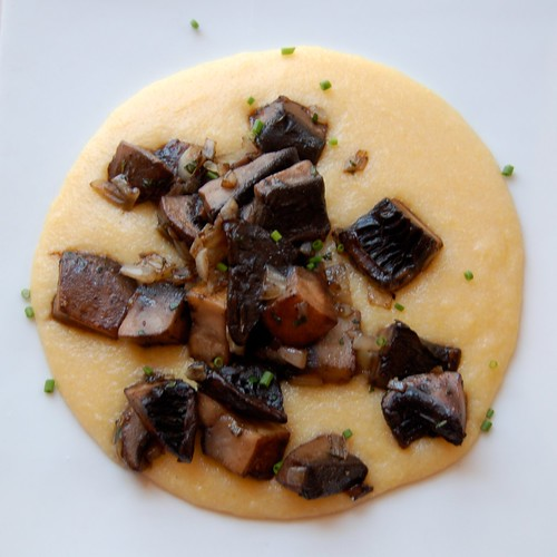 Cheesy Polenta with Skillet Roasted Mushrooms