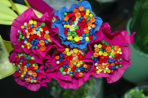 Small Colorful Bouquets of Paper Flowers in Las Ramblas, Barcelona, Spain [enlarge]
