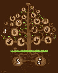 The Family Tree (WOTTO*) Tags: family brown tree cute green bird texture nature mushroom grass leaves birds illustration garden design adorable familytree planet environment characters mustache threadless tee tshirtdesign deadbird wotto