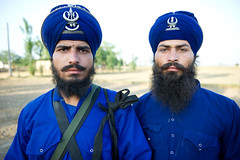 Warriors (gurbir singh brar) Tags: blue proud pose beard nikon brothers duo young handsome sikhs turban mustache punjab nikkor bearded punjabi 2010 khalsa youngmen twomen gurdaspur nihang nihangs 2470mmf28g gurbirsinghbrar nikond3s babaharisingh babaswaranjitsingh twonihangs