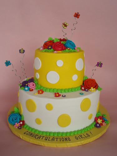 Polka Dot Spring Garden Cake