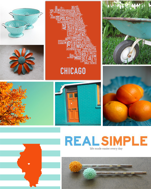 Kitschicagoan Aqua & Orange Mood Board