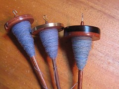 3 blue spindles