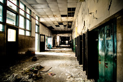 detention is at the END of the hall (hardyc) Tags: door school windows light abandoned lockers high decay debris detroit disgust detention