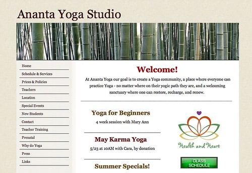 Site of the Week: Ananta Yoga | Yola