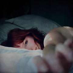 ... (::fotorosso::) Tags: woman sunlight selfportrait texture me girl self square bed reaching naturallight sheets reach redhair bsquare