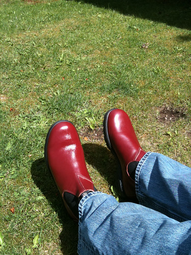 Shiny new red Blundstones