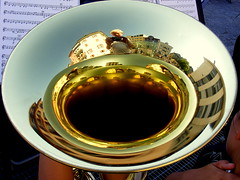 The city in the trumpet... (mujepa) Tags: city music france reflection town concert trumpet reflets ville pavillon musique cuivre trompette immeubles evianlesbains