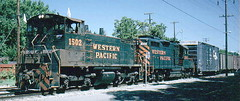 Western Pacific EMD SW 1500 switcher # 1502. Modesto california. July 1980.