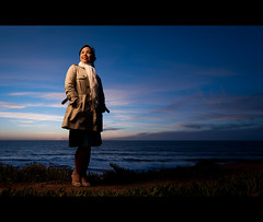 Blue Hour (kaoni701) Tags: ocean sf sanfrancisco sunset portrait sky woman beach girl clouds umbrella asian dawn nikon pacific dusk flash bridget tokina 1750 bluehour ttl cinematic tamron speedlight vc gel vr cls atx cto sb800 offcamera 1116 strobist sb900 pacificia d300s