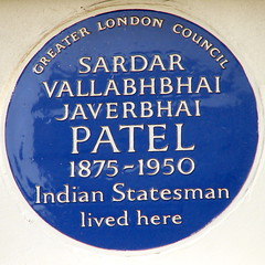 Photo of Sardar Vallabhbhai Javerbhai Patel blue plaque