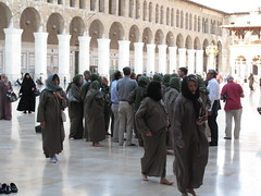Tourrists in Umayyad Mosque - Damascus, Syria