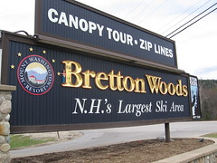 Waldo standing on the B of the Bretton Woods resort sign.