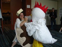Pancake Vs. Chicken! - Animazement 2010 (Futuregirl_LeahRiley) Tags: food anime chicken costume nc comic cosplay northcarolina az raleigh butter convention syrup pancake ruth con 2010 animazement chickencostume giantpancake foodcostume animazement2010 pancakecostume