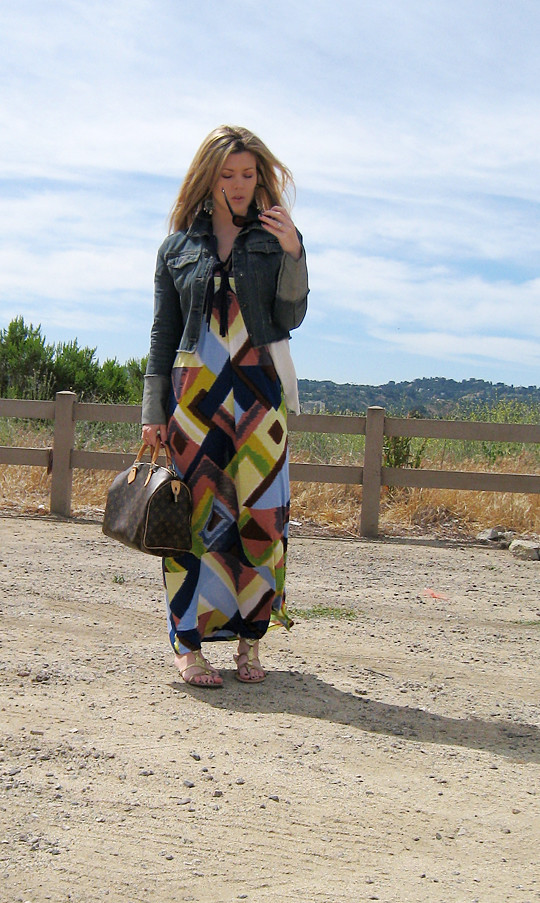 multi-color ikat maxi dress+denim jacket -1