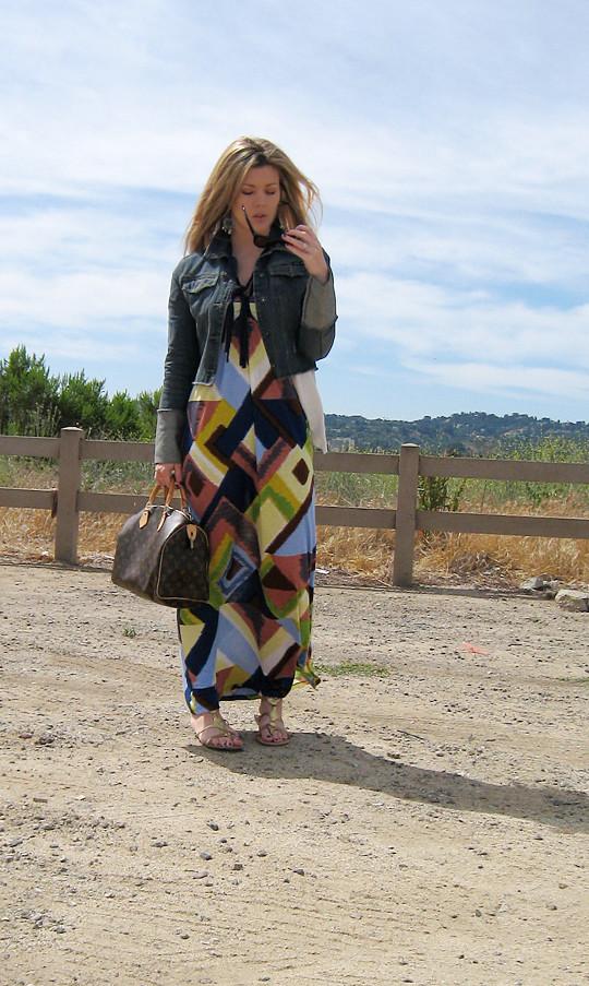 multi-color ikat maxi dress+denim jacket -1