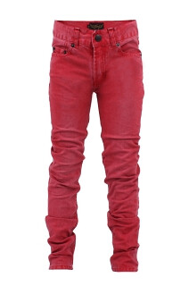 boys red skinny jeans by Finger in the Nose