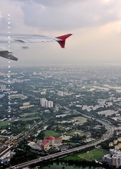 Bidaye Dhaka [Goodbye Dhaka] (AvikBangalee) Tags: landscape flying wings cityscape aircraft flight jet aeroplane dhaka bangladesh birdseyeview imissyou faraway airasia leavinghome airportroad internationalflight uttara hotelradission
