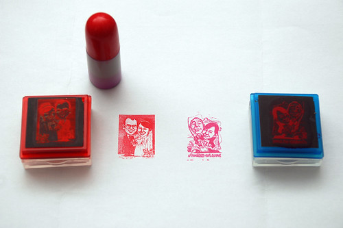 Couple wedding caricatures printed on red & pink rubber stamps