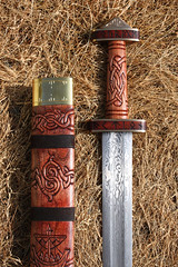 Hærtjener 14 (Cedarlore Forge) Tags: inspiration art woodwork ancient pattern dwarf steel craft carving norman workshop weapon sword historical nordic celtic blade blacksmith mad migration thor viking decor damascus period reproduction scandinavian saxon vikingship relic welded asgard knotwork norse mythical prehistory anglo warfare antiqued swordsmith bladesmith svord heartjener
