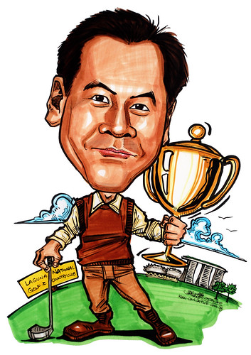 Golfer caricature with trophy
