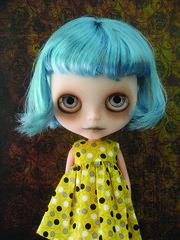 I like this blue.... (Pink Anemone) Tags: doll ghost spooky mohair blythe np custom scalp zaloa