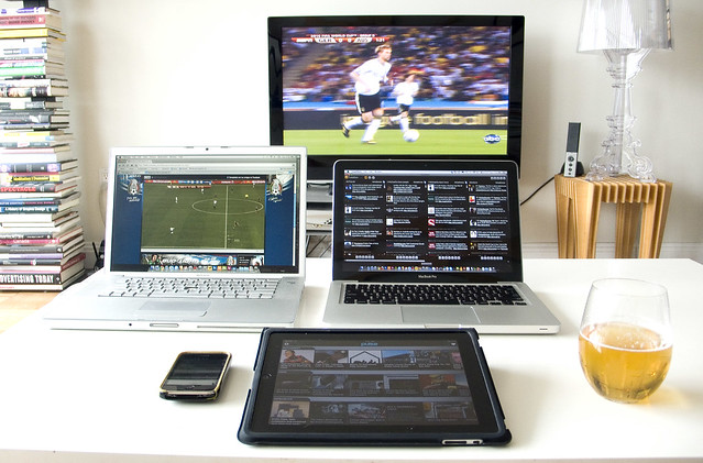 Five screen command center for the World Cup