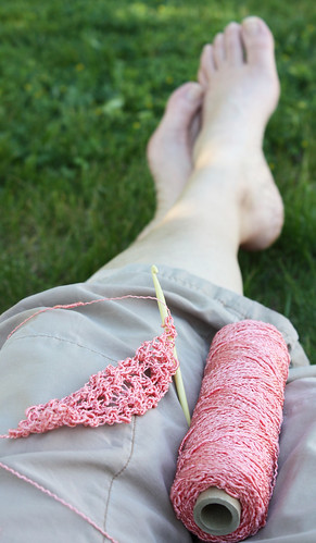 Bare feet and crochet