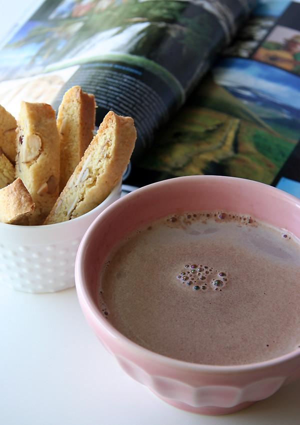 almond biscotti and hot chocolate