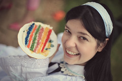rainbow layer cake (shimelle) Tags: costumes party summer england birthdayparty fancydress teaparty aliceinwonderland madhattersteaparty