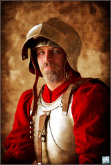 Portrait of an Italian Mercenary (David de Groot) Tags: portrait people man texture festival canon painting military sunday australia brisbane queensland knight reenactment historyalive fortlytton canonef70200mmf28lisusm 5dmkii