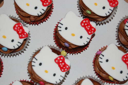 Chocolate cupcakes with Hello Kitty toppers!